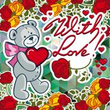 Cute teddy bear on a mosaic background with roses. The layout for greeting cards, Valentine Day cards, labels, tags, banners, flyers, ads.  Vector clip art vector illustration