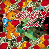 Cute teddy bear on a mosaic background with roses. The layout for greeting cards, Valentine Day cards, labels, tags, banners, flyers, ads.  Vector clip art royalty free illustration