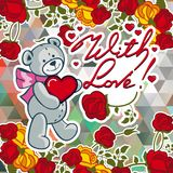 Cute teddy bear on a mosaic background with roses. The layout for greeting cards, Valentine Day cards, labels, tags, banners, flyers, ads.  Vector clip art Stock Photo
