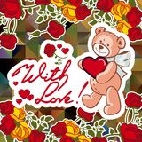 Cute teddy bear on a mosaic background with roses. The layout for greeting cards, Valentine Day cards, labels, tags, banners, flyers, ads.  Vector clip art Stock Photos