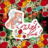 Cute teddy bear on a mosaic background with roses. The layout for greeting cards, Valentine Day cards, labels, tags, banners, flyers, ads.  Vector clip art Royalty Free Stock Photos