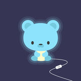 Cute teddy bear night light stock illustration