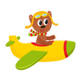 Cute teddy bear pilot character flying on airplane, cartoon illustration Stock Photography