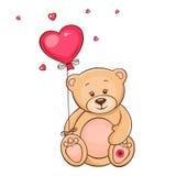 Cute teddy bear with red balloon. Hand drawn Teddy bear with red heart balloon Royalty Free Stock Photo