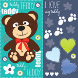 Cute teddy bear with red bow  illustration Stock Photos