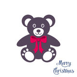 Cute teddy bear with red bow. Illustration Royalty Free Stock Image