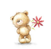 Cute Teddy bear with the red flower. I love you. Birthday greeting card. Stock Photos