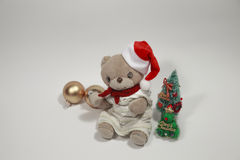 Cute teddy bear's Merry Christmas Stock Image