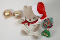 Cute teddy bear's Merry Christmas Stock Images