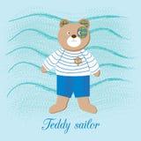 Cute Teddy bear - sailor boy, on the backdrop of the sea waves Stock Photo