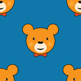 Cute teddy bear seamless pattern. Cute teddy bear with smile and red bow tie Stock Photos