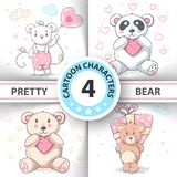 Cute teddy bear - set cartoon characters. vector illustration