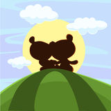 Cute teddy bear sitting in sunset - vector Royalty Free Stock Images