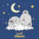 Cute Teddy Bear sleeping on the cloud. Sweet dreams Stock Illustration
