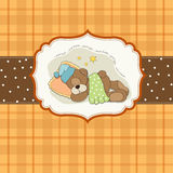 Cute Teddy Bear sleeps on pillow Stock Images