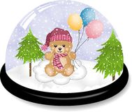 Cute teddy bear snowdome Stock Image
