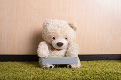 Teddy bear with tablet computer Stock Image