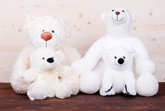 Cute teddy bear toy on the board top view Royalty Free Stock Image