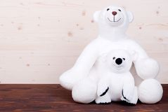 Cute teddy bear toy on the board top view Royalty Free Stock Photos