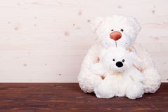 Cute teddy bear toy on the board top view Stock Photo
