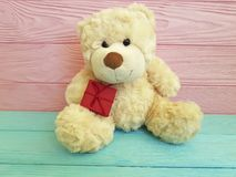 Cute teddy bear toy with red box on a pink and blue wooden Royalty Free Stock Photo