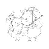Cute teddy bear under an umbrella. Royalty Free Stock Image