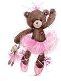 Cute teddy bear watercolor illustration. Stock Photos