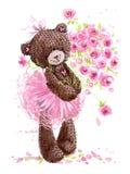 Cute teddy bear watercolor illustration.