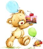 Cute Teddy bear watercolor illustration royalty free illustration
