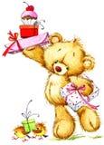 Cute Teddy bear watercolor illustration royalty free illustration
