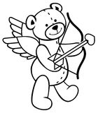 Cute teddy bear with wings, bow and arrow looks like a cupid. Outline contour image.  Raster clip art Royalty Free Stock Image