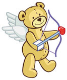 Cute teddy bear with wings, bow and arrow looks like a cupid. Raster clip art Royalty Free Stock Images