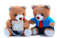 Cute teddy bears with card Stock Photography