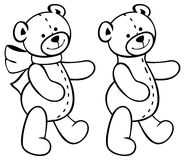 Cute teddy bears. Children toys. Raster clip art. Royalty Free Stock Photography