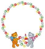 Cute teddy bears. Children toys. Raster clip art. Royalty Free Stock Photo