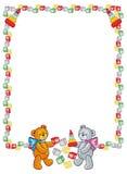 Cute teddy bears. Children toys. Raster clip art. Stock Photo