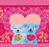 Cute Teddy bears couple Royalty Free Stock Image