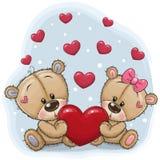 Cute Teddy Bears with heart. On a blue background vector illustration
