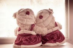Cute teddy bears in love's embrace Stock Images