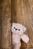 Cute teddy bears with old wood background Stock Photo