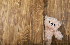 Cute teddy bears with old wood background Stock Image