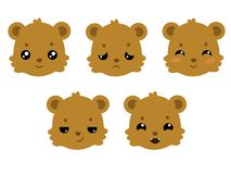 Cute teddy bears set emotional faces. vector stock illustration