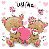 Cute Teddy Bears With Heart Royalty Free Stock Images