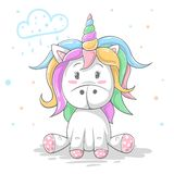 Cute teddy color unicorn. Cool illustration. royalty free illustration