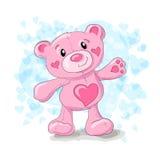 Cute teddy with hearts cartoon. Stock Photography