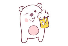Cute Teddy Sticker with a beer mug. Royalty Free Stock Photos