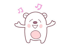 Cute Teddy Sticker happy and in  a musical mood. Stock Photos