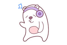 Cute Teddy Sticker headphones plugged in and listening to music. Royalty Free Stock Photo