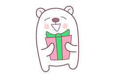 Cute Teddy Sticker holding  a gift. Stock Images