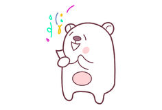 Cute Teddy Sticker in party mode. royalty free illustration